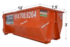 Dimensions de conteneurs 10 verges - Zone Conteneurs Inc. à Mirabel, Montréal