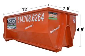 Dimensions de conteneurs 15 verges - Zone Conteneurs Inc. à Mirabel, Montréal