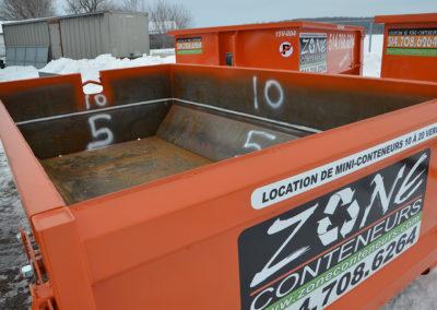 Location de conteneur 5 et 10 verges cube pour béton, terre, asphalte