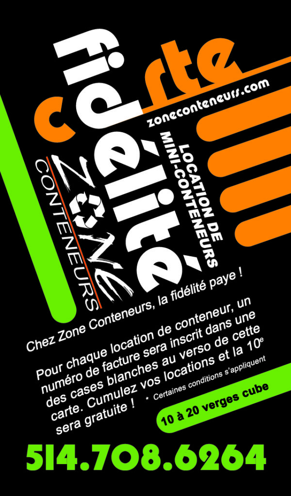 Carte Promo Zone Conteneurs Inc