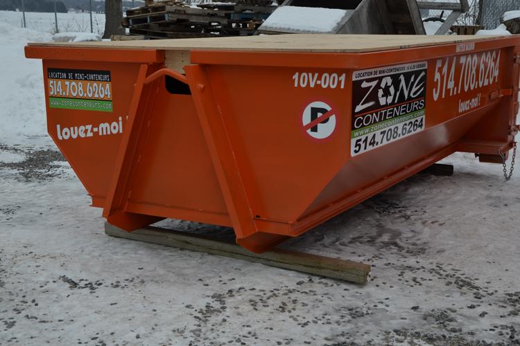 Location de conteneur 10 verges cube - Zone Conteneurs Inc. - Mirabel, Montréal