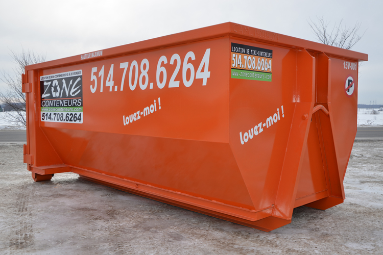 Location de conteneur 15 verges cube - Zone Conteneurs Inc. - Mirabel, Montréal