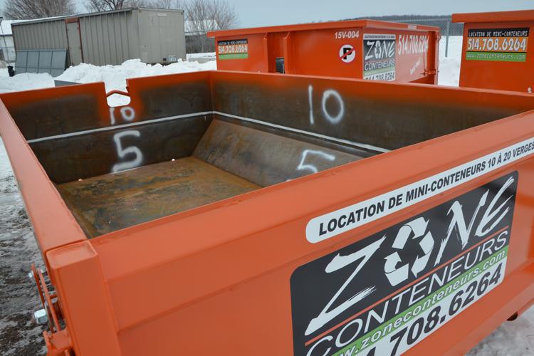 Location de conteneur 5 verges cube pour béton, terre, asphalte - Zone Conteneurs Inc. - Mirabel, Montréal